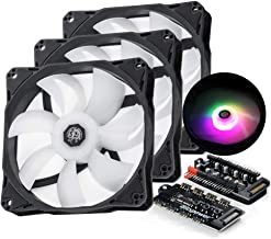 ABKONCORE SP120 PC Fan 50 LED Modes with Fan Control Hub 120mm-5 Pack SYNC PWM RGB 120mm Computer Fans with Spider-Shaped Frame PC Case RGB Fans