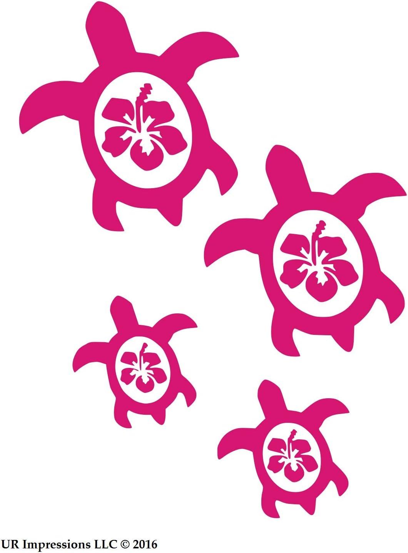 UR Impressions Calcomanía de Vinilo con diseño de Tortuga Marina de Hibiscus Coche, camión, SUV, Furgoneta, Pared, portátil, 19 x 16,5 cm