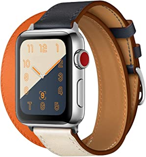 CAILIN Band iWatch Series 1 Series 2Series 3 Series4, Luxury Genuine Leather Smart Watch Band Strap Single Tour Replacement 38mm 2015 & 2016 &2018 All Models (Indigo/Craie 1, 38mm Series3/2/1)