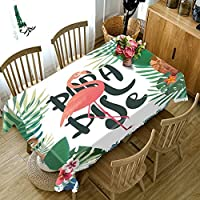 結婚式のピクニックパーティーのための3D自然風景フラミンゴ花テーブルクロス防塵厚綿長方形テーブルクロス
