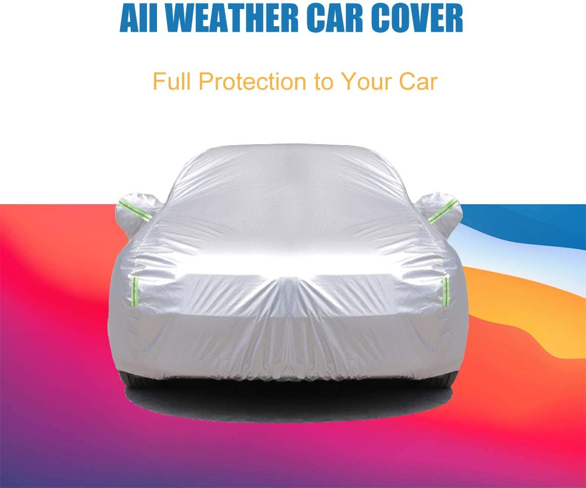 Windproof Car Cover Waterproof all Weather for Automobiles 201T Polyester Fit Sedan up to 200 Snowproof with Adjustable Straps /& Reflective Strips Outdoor Full Car Cover Universal Fit for Sedan