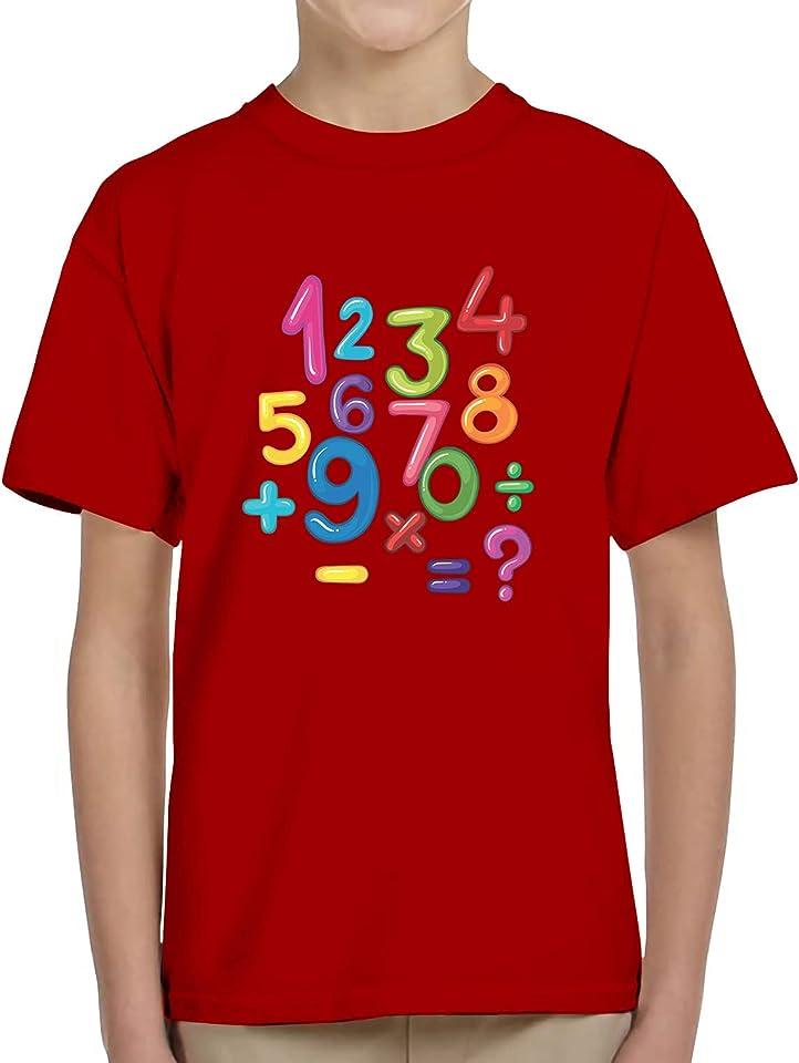 N4U Online® Kids Boys Girls Colourful Number Day 2021 Maths Symbols School Tee T-Shirt Top