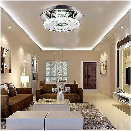 Eclairage de plafond Cristal Moderne Plafonnier Creative Acier Inoxydable Rond Trois-couleur Lampe Anneau Anneau Lustre Pour Chambre Allée Couloir Lampe Plafonnier Lustres Luminaires intérieur