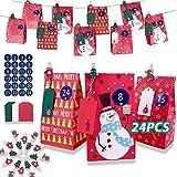 Bolsas de regalo navidad, 24 Bolsas de Papel Kraft de Caramelo, DIY bolsas para regalo navidad con Tarjetas y Pinzas de Madera, Ideal para Decoración de Navidad Suministros (C)