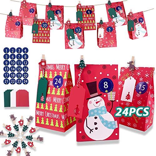 DZSEE 24 Adventskalender zum Befüllen, 24 Adventszahlen Aufkleber, Geschenktüten Weihnachten Kinder, Weihnachtlichen Adventskalender, Weihnachtskalender Bastelset, Basteln Füllung für Kinder