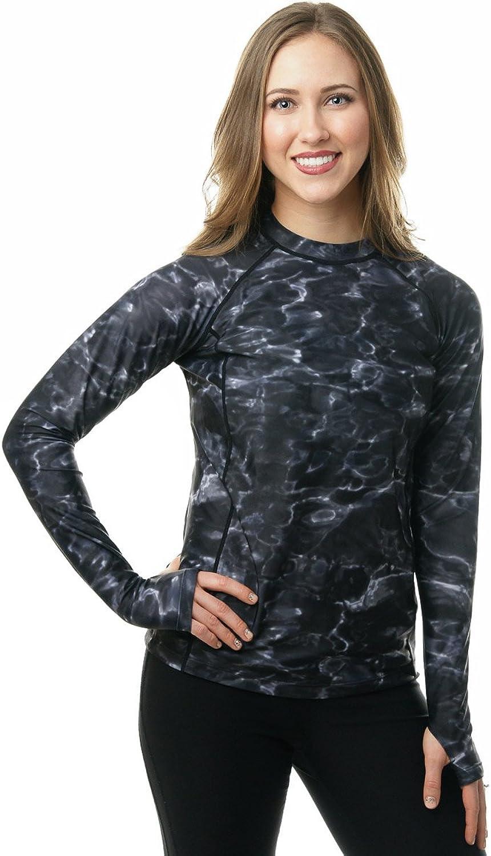 Aqua Design Womens Comfort Fit Long Sleeve Swim Surf Rash Guard with Thumb Holes