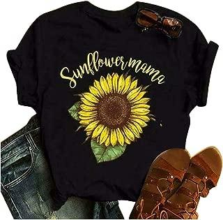Oasisocean Women Shirts Girls Cute Sunflower T-Shirts Letter Print Short Sleeve Crew Neck Summer Casual Cotton Tees Tops