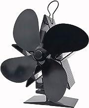 JJIIEE Ventilador de Estufa de Calor con termómetro magnético, 4 aspas Ventilador de Chimenea Distribución de Calor eficiente de Calor para Madera/Quemador de leña/Chimenea,Negro