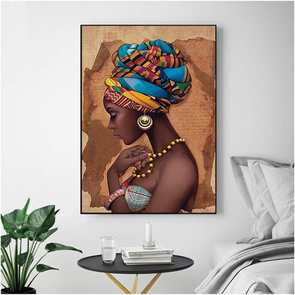 Retrato de mujeres afroamericanas Pintura al /óleo sobre lienzo Impresi/ón en HD Carteles modernos e im/ágenes de arte de pared impresas para la sala de estar Decoraci/ón del hogar 40x50cm16x20in