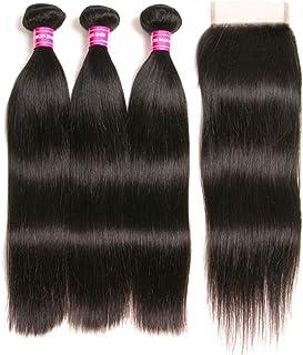 Brazilian Straight Hair With Closure 3 Bundles Unprocessed Virgin Human Hair Bundles With Lace Closure Free Part Hair Exte...