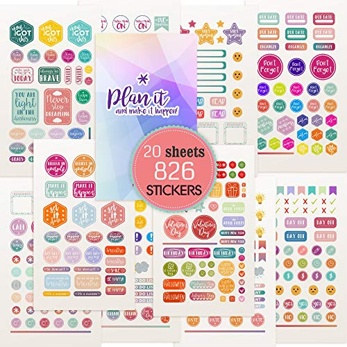 Planner Stickers - Value Pack 20 Sheets/826 Planner Stickers and Accessories for Adults   Any Activity, Happy Event or Holiday in Your Calendar, Journal, Agenda in 2020 & 2021� (Standard)