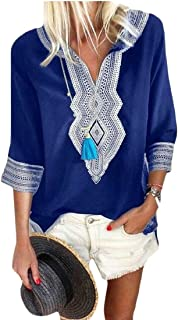 FRPE Women Loose Plus Size 3/4 Sleeve Casual Printed Top T-Shirt Blouse