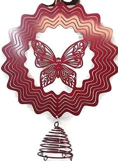 Evergreen Pink Butterfly Spectrum Spinner Windchime 36 inch