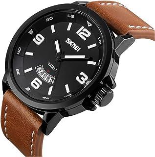 MJSCPHBJK Men's Business Quartz Watch, Casual Fashion Analog Wrist Watch Classic Calendar Date Window, Waterproof 30M Water Resistant Comfortable Unique PU Leather Watches-Black