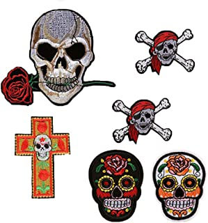 SOUTHYU 6 Pack Iron On/Sew On Patches Punk Decorative Motif Appliques Embroidered Skull and Bone with Rose Pirate Repairing Badge for DIY Clothing Jeans Jacket Backpack Hat