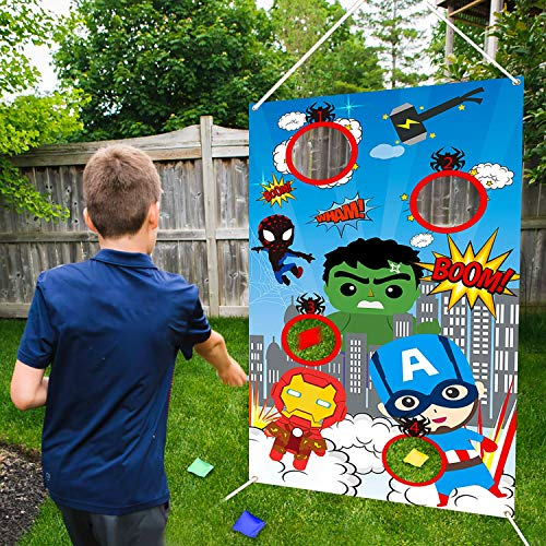 BeYumi Superhero Toss Games with 4 Bean Bags, Superhero Indoor Outdoor Throwing Game Party Supplies for kids, Carnival Games Toss Games Banner for Birthday Party Decoration Thanksgiving Day Christmas