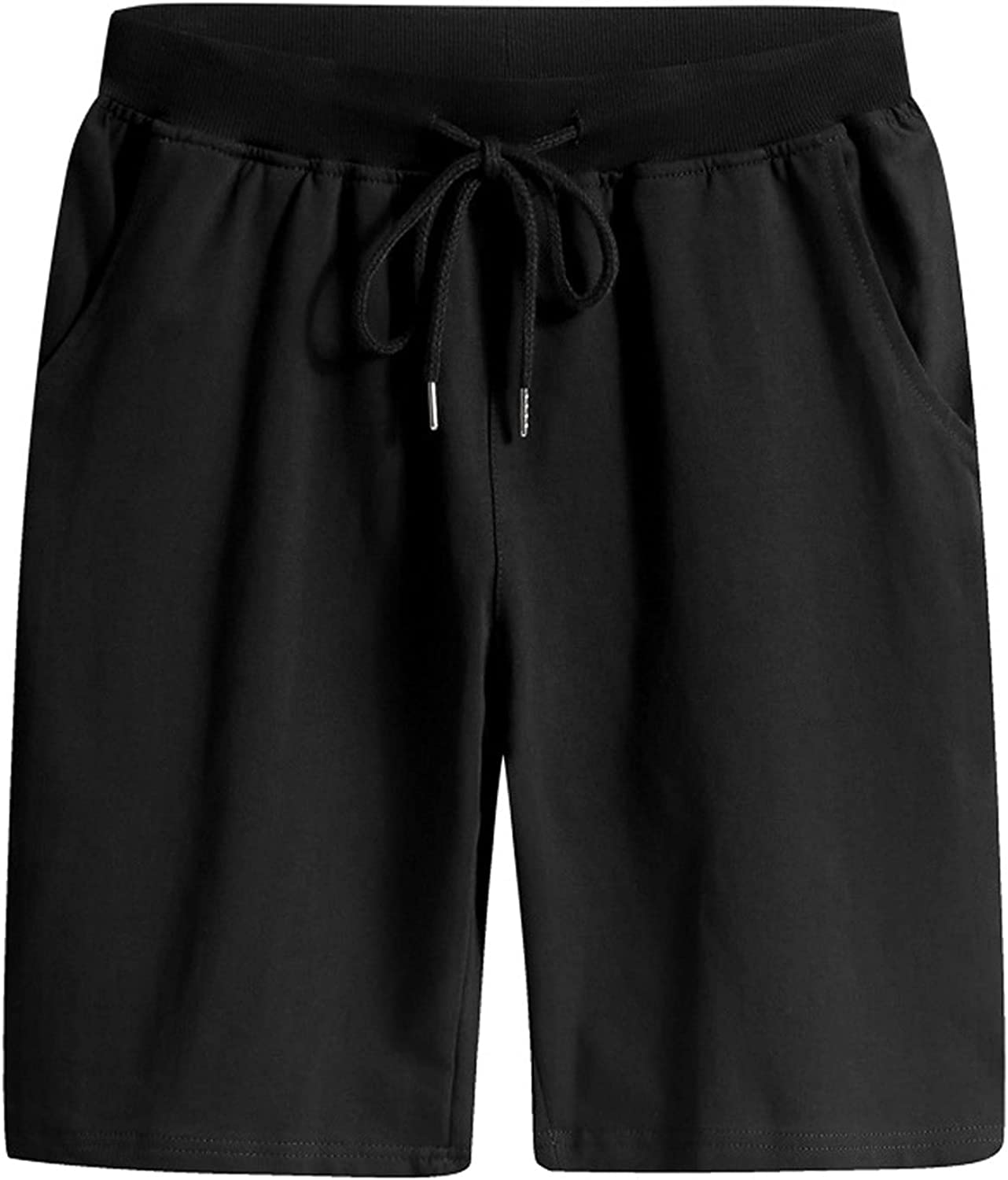 ZCAITIANYA Men's Shorts Cotton Casual Slim Fit Sport Jogging Fitness Drawstring Summer Beach Solid Elastic Waist with Pockets
