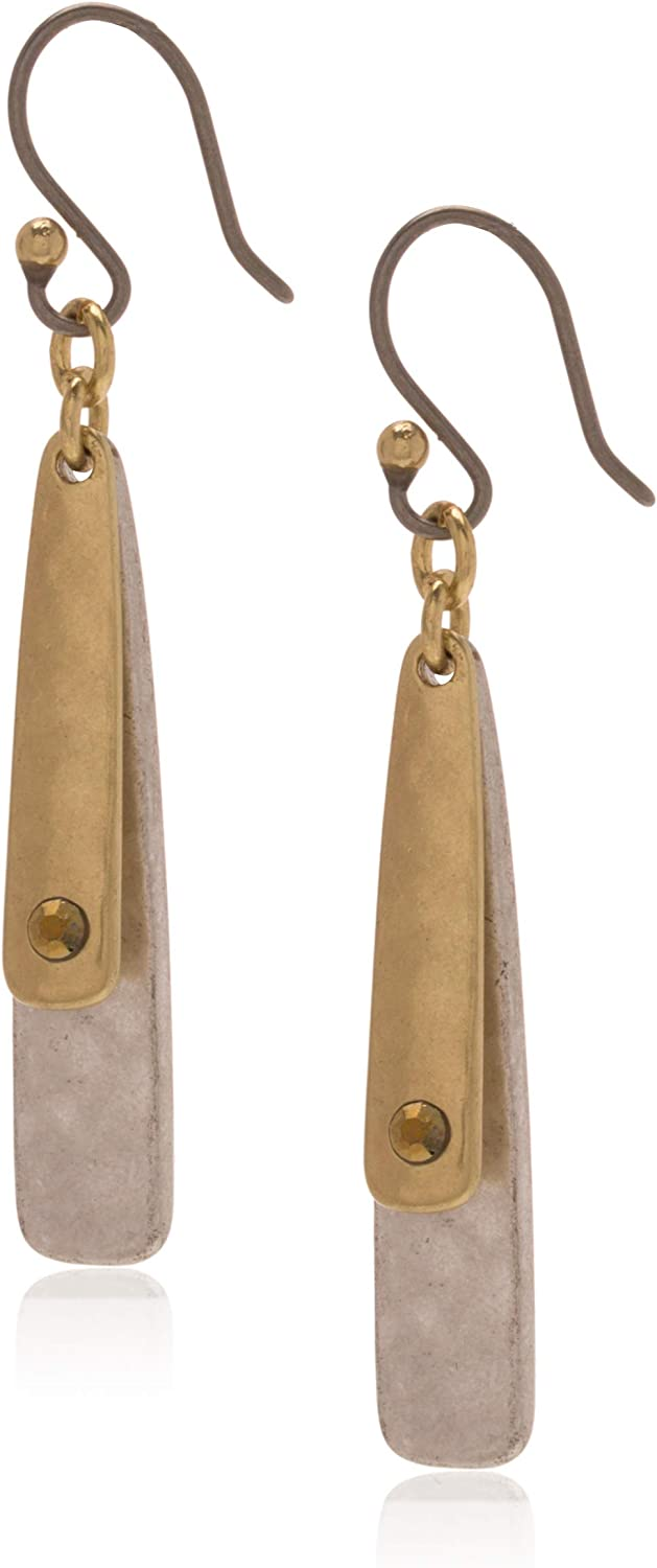 lucky brand two tone double layer earrings