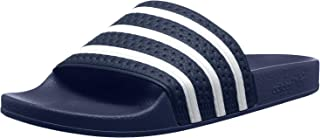 adidas Originals Men's Adilette Slide Sandals, White/Adidas Blue, (7 M US)