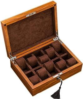 SKDJFH - Caja Organizadora De Reloj para Hombre con 10 Ranuras De Madera para Mujer con Llave Y Cerradura (Color: B)