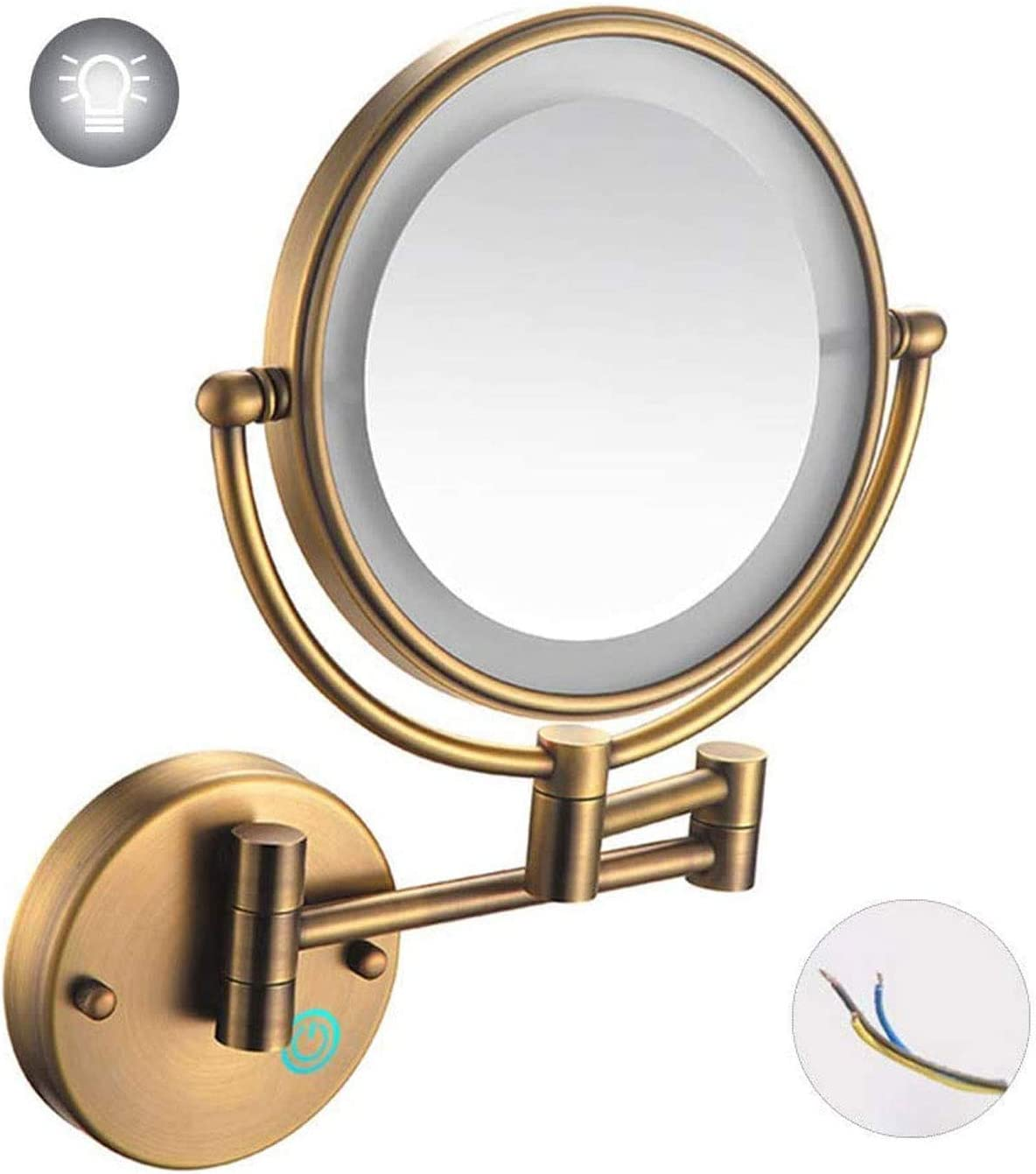 ZHCHL Makeup Dallas Mall Mirror Wall Mounted with Led Lights Overseas parallel import regular item Double- 8 Inch