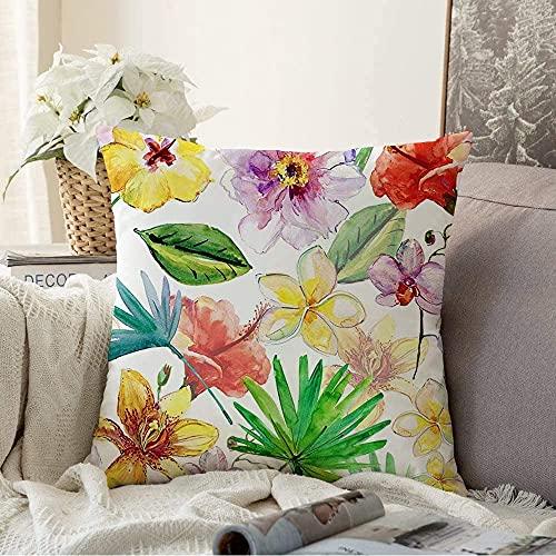 Almohada Decorativa Red Aloha Tropical Palm Hojas de Hibisco Flores Verano Acuarela Artista de Hawaii Bali Beach Blossom Funda de cojín Cuadrada acogedora Funda de Almohada para sofá, 18'x18