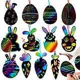 Wishstar Scratch Art Pasqua, Carta Gratta e Vinci di Pasqua Arcobaleno 36 PCS,Giochi Creativi Bambini,Pasqua della Decorazione Dell'uovo della Carota del Coniglio