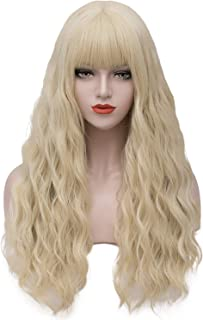 Asincbd Long Blonde Wigs for Women 28 Inches Fluffy Wavy Hair Wig with Bangs Natural Full Synthetic Cosplay Wig Heat Resistant AD002GD