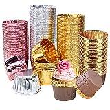 Meilo Pirottini di Carta,Pirottini per Muffin e Cupcake 200Pezzi Pirottini di Carta per, Cioccolatini Forno Dessert Torta, 4 Stili (golden)