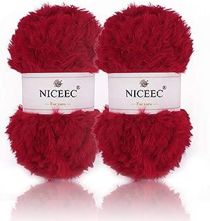 NICEEC 2 Skeins Super Soft Fur Yarn Chunky Fluffy Faux Fur Yarn Eyelash Yarn for Crochet Knit-Total Length 2×32m(2×35yds,50g×2)-Red