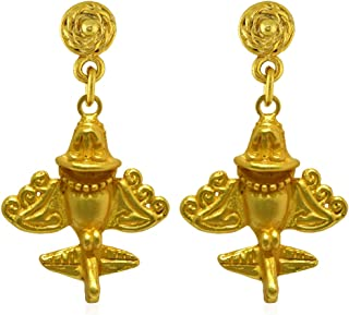 Across The Puddle, Ancient Aliens Jewelry Collection, 24k Gold Plated Pre-Columbian Quimbaya Golden Jet-7 / Ancient Aircraft-7 /Golden Flyer-7 Dangle Earrings