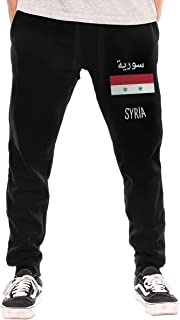 BibiQQgait Men's Jogger Sweatpants Syria Flag Elastic Waist Fleece Sweatpants