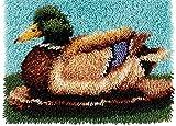 Latch Hook Kit Animales 3D Tapiz Kits Lienzo Impresión Trabajo Hecho A Mano De Alfombras con Herramienta Básica e Instrucciones para Hacer Alfombras,Wild Duck,52x38cm/20x15inch