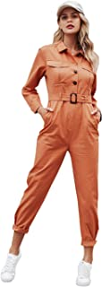 Zandiceno Women's Casual Cotton Button Down Jumpsuit Pocketed Belted Long Romper Sport Coveralls