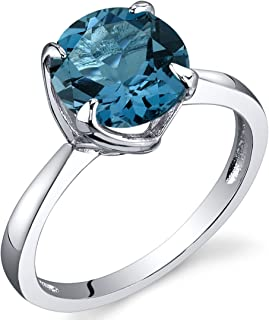 Sublime Solitaire 2.25 Carats London Blue Topaz Ring in Sterling Silver Rhodium Nickel Finish Sizes 5 to 9
