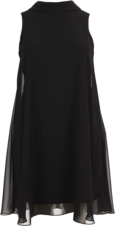 Joseph Ribkoff Black SemiSheer Aline Sleeveless Dress Style 163261