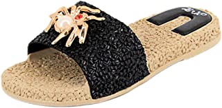 Naimo Women's Rhinestone Sandals Spider Decor Flat Slippers Casual Flip-Flops Flat Slides Sandals