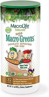 MacroLife Naturals MacroCoco Greens Chocolate Powder for Kids Raw Superfood Fruits & Veggies, Probiotics, Digestive Enzyme...