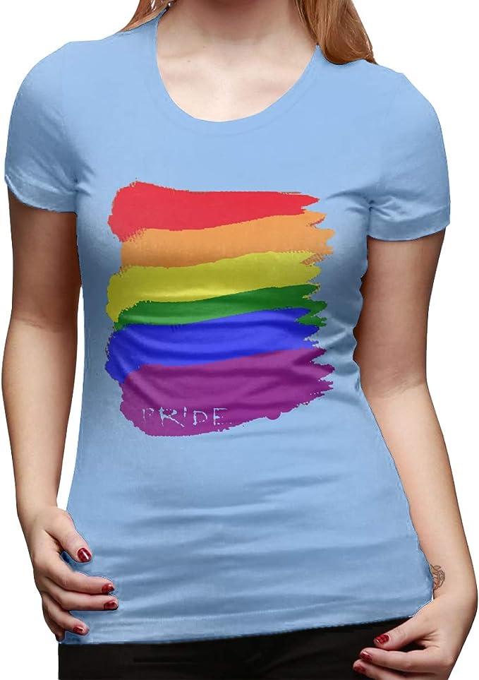 Camiseta de Manga Corta de algodón para Mujer, Color Azul ...