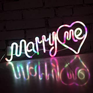 Obrecis Colorful Marry me LED Neon Signs Wall Decorations, Neon Letters Lights USB Marquee Letters Words Night Light for Proposal, Valentine's Day, Wedding Party Decor- Marry Me(Colorful)