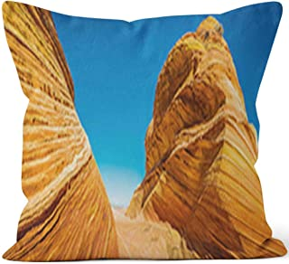 Nine City The Wave Iconic Desert strata Erosion Golden Sandstone Panorama Arizona Throw Pillow Cover,HD Printing for Sofa Couch Car Bedroom Living Room Decor,36