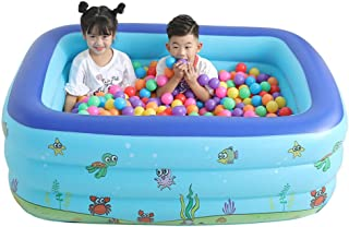 Feccile Family Inflatable Swimming Pool, Blow Up Family Pool, Inflatable Lounge Pool for Baby, Kiddie, Kids, Adult, Outdoor, Garden, Backyard, Summer Water Party - 110X90X40cm