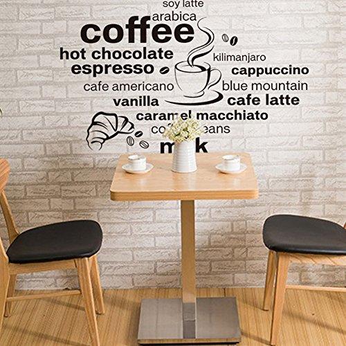 Wallpark Negro Inglés Letras - Café Bebida Nombre Hogar Cocina Cafetería Restaurante Desmontable Pegatinas de Pared Etiqueta de la Pared, Sala Dormitorio Hogar Decorativas Adhesivas DIY Arte Murales