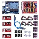 Kyrio Placa de expansión CNC Shield V3.0 + DRV8825 A4988 controlador de motor paso a paso con disipador de calor impresora 3D Kit CNC compatible con ArduinoIDE