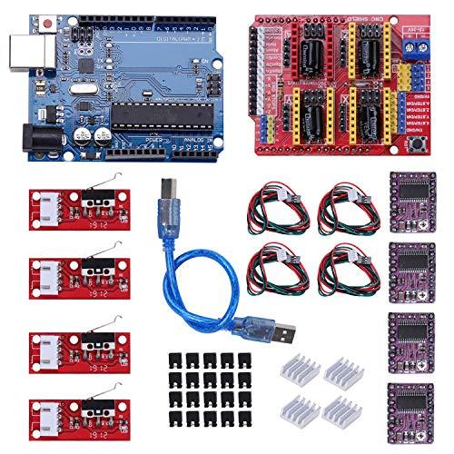 Kyrio CNC Shield placa de expansión V3.0 + DRV8825 A4988 controlador de motor paso a paso con disipador térmico 3D Kit CNC compatible con ArduinoIDE