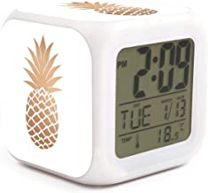 Gold Pineapple Decor Art Alarm Clock Displays Time Date and Temperature Soft Nightlight for Kids Home Office Bedroom Heavy Sleepers
