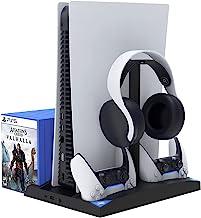 پایه ذخیره سازی برای کنسول PS5 / نسخه دیجیتال ، بازی ساز با فن خنک کننده ، ایستگاه شارژر کنترلر ، 15 نگهدارنده قاب بازی ، 3 پورت USB و 1 حافظه از راه دور رسانه - سیاه