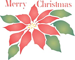 """Christmas Poinsettia Stencil (size 5""""w x 6""""h) Reusable Stencils for Painting - Best Quality Christmas Project Ideas - Use on Walls, Floors, Fabrics, Glass, Wood, Cards, and More…"""