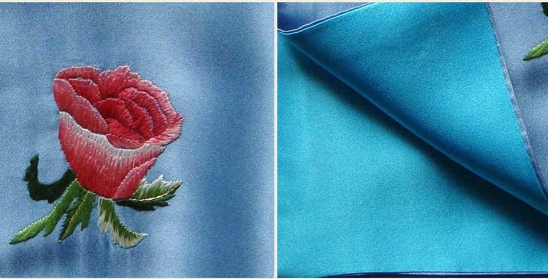Z.L.FFLZ Embroidery Handkerchief Handkerchief Ladies Silk Pocket Handkerchief Floral Embroidery Suxiu Handmade Gifts (Color : 01, Size : S)