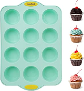 Aschef Steel Reinforced Frame Silicone Muffin Cupcake Baking Pan Mold, Bakeware Tray Tin Case Mould 12 Cup - Nonstick BPA ...